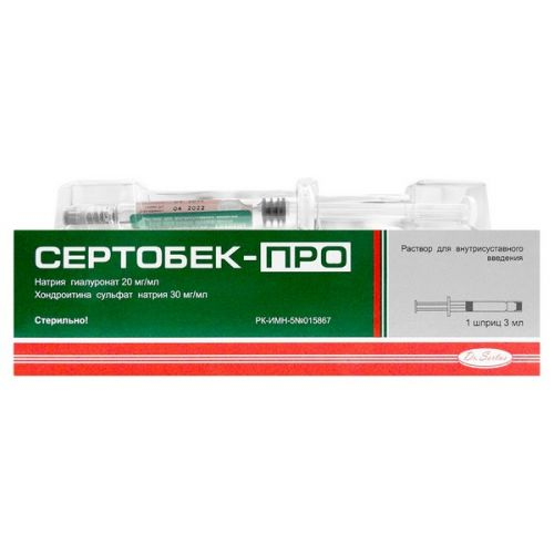 About 3 ml Sertobek 1's solution for intraarticular administration in the syringe