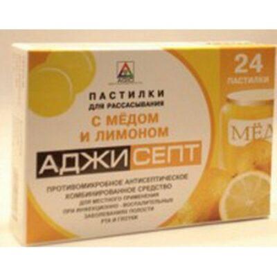 Adzhisept honey and lemon lozenges 24's