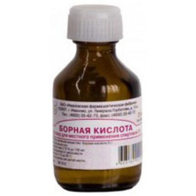 Boric acid 3% alcohol solution of 20 ml. ext.