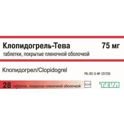 Clopidogrel-Teva 28's 75 mg film-coated tablets