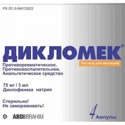 Diklomek 75 mg / 3 ml 4's solution for injection in ampoules