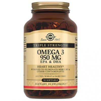 Triple Solgar omega-3 EPA and DHA 950 mg (50 capsules)