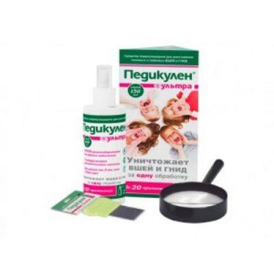 Ultra Pedikulen lice and nits set 150 ml spray + comb + magnifying loupe